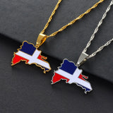 Dominican Map Flag Necklace
