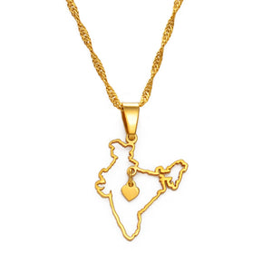 India Map With Heart Necklace