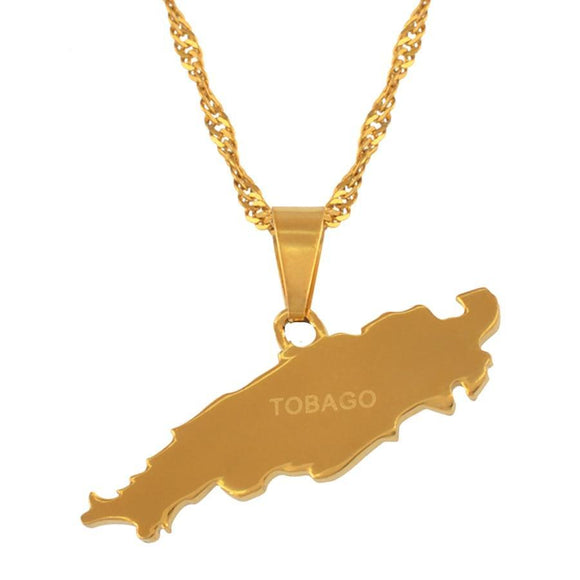 Tobago Map Necklace