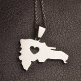 Silver Heart Dominican Republic Necklace