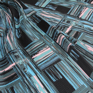 Fine, checked pleated fabric in blue-pink-green - 49,5 € / m