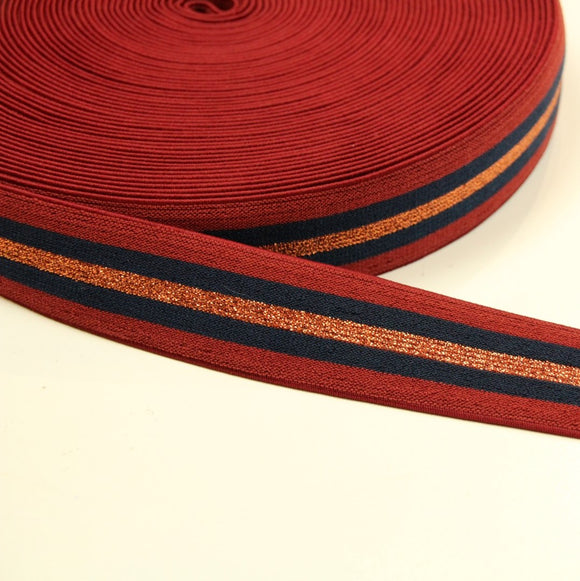 Red-blue striped stretch band - € 4,5 / m