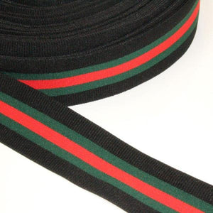 Black elastic waistband with green & red line - € 3,5 / m