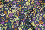 Blue cotton with flowers - € 19,5 / m