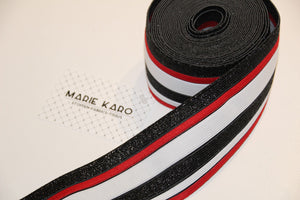 Elastic waistband red-white-black stripes - € 6,5 / m