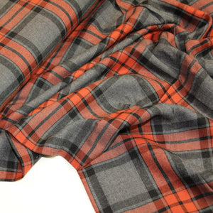 Gray viscose with red check - €15/m