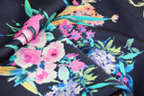Blue satin viscose with flowers - €19,9/m