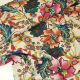 Beige viscose with floral print - €19,9/m