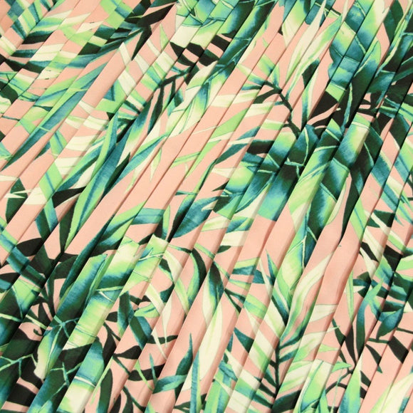 Pink pleated fabric with tropical print - piece of 110 by 70cm - € 43