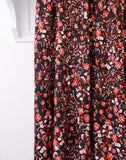 Atelier Jupe - Black lurex viscose with small, red flowers - € 27 / m