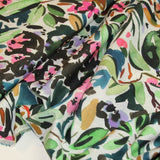 Cotton with painted flowers - €19,5/m