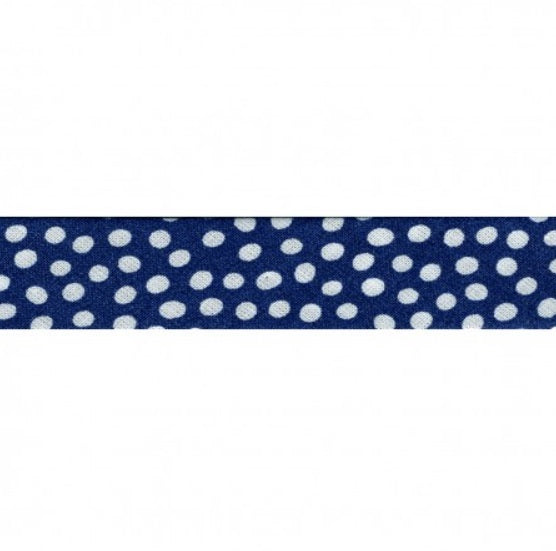 Blue bias ribbon with little dots - € 1,2 / m