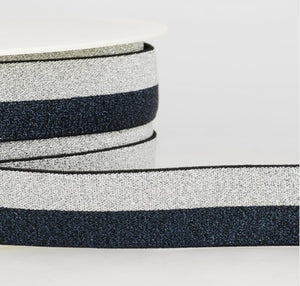 Two-tone shiny elastic 1cm wide - navy-silver - € 1,4 / m