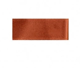 Rust brown cotton satin ribbon 1cm wide - € 0,8 / m