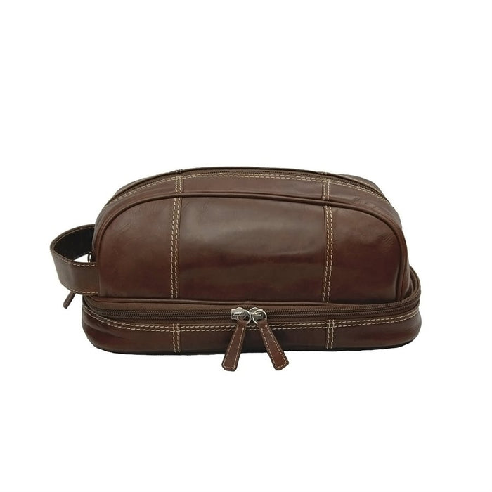 Leather 2-Section Top Zip Toiletry Kit
