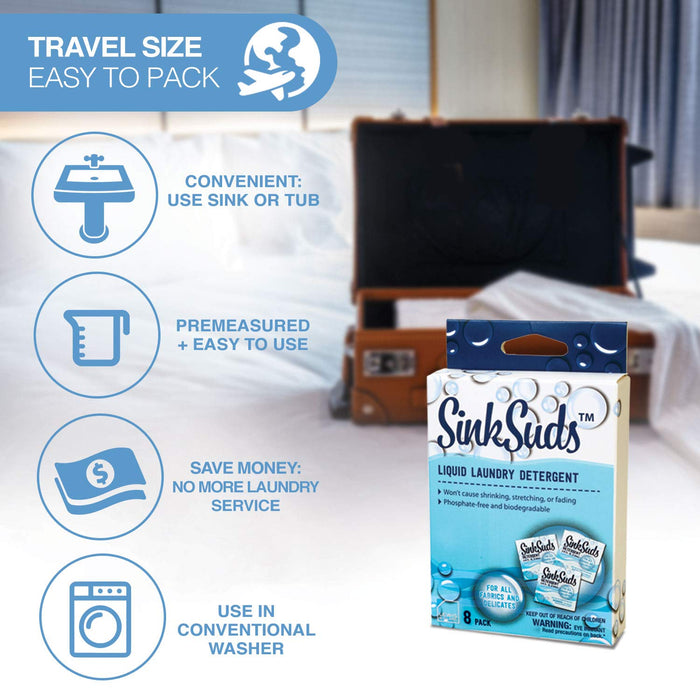 SinkSuds Travel Laundry Detergent Liquid Soap - 8 Pack