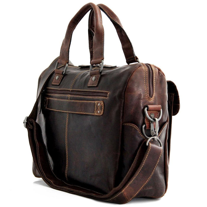 Voyager Zippered Briefcase With Front Flap Pocket