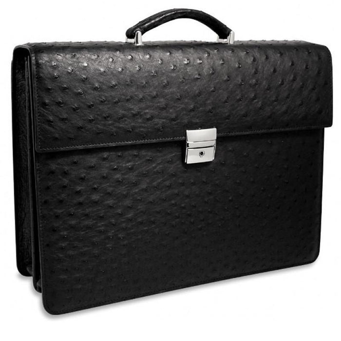 Genuine Ostrich Double Gusset Flapover Leather Briefcase