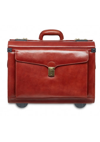 Mancini Deluxe Wheeled Catalog Case - Genuine Leather