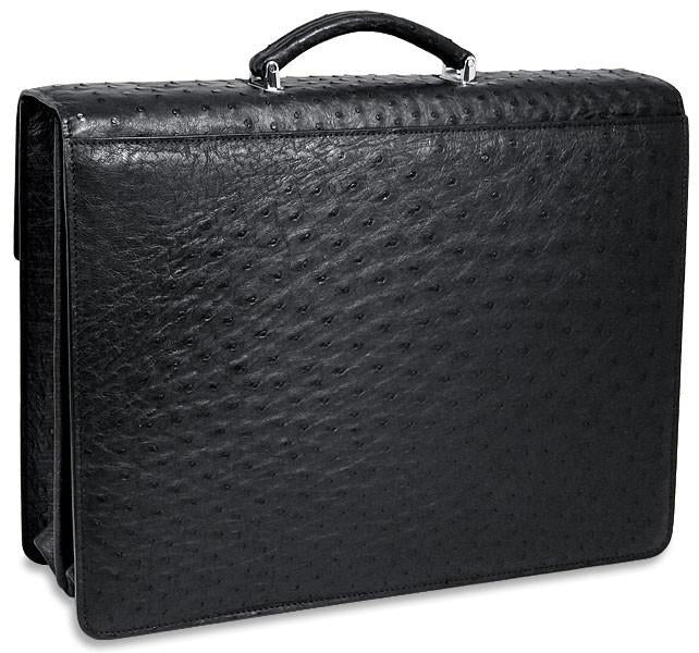 Jack Georges Genuine Ostrich Double Gusset Flapover Leather Briefcase #OS-422