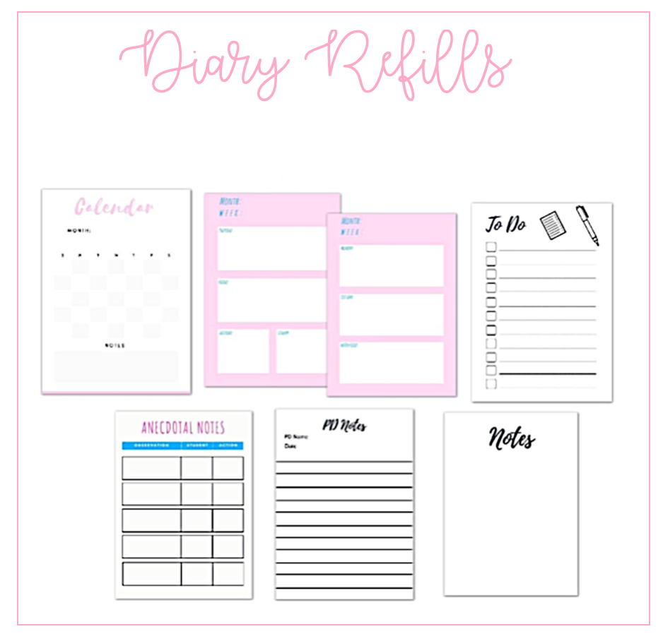 Refill pages for A5 planner