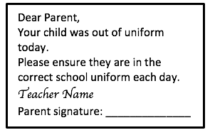Diary note uniform stamp