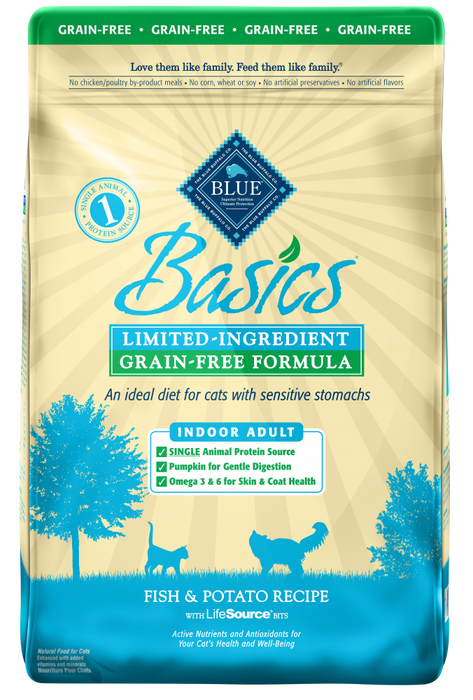 Blue Buffalo Basics Grain Free Adult Indoor Fish and Potato Recipe Dry Cat Food