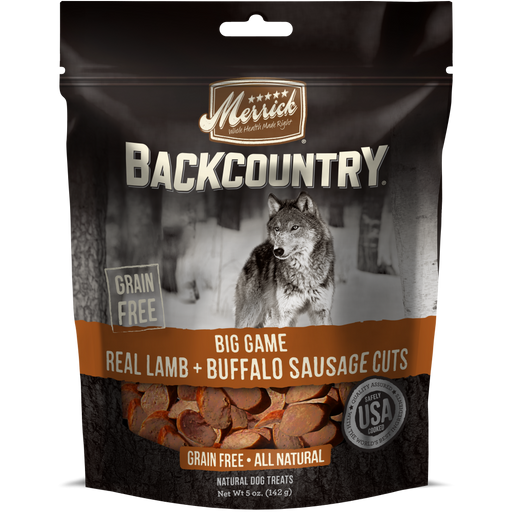 Merrick Backcountry Big Game Grain Free Real Lamb and Buffalo Sausage Cuts Dog Treats