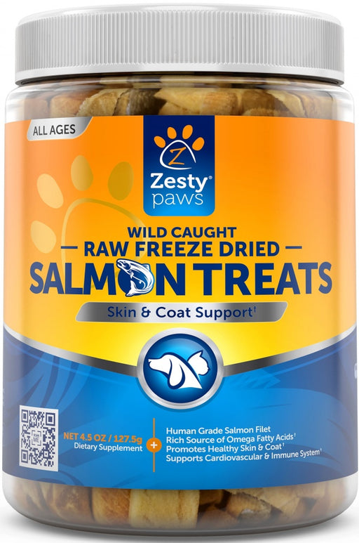 Zesty Paws Raw Freeze Dried Skin & Coat Support Wild Caught Salmon Fillets for Dogs and Cats
