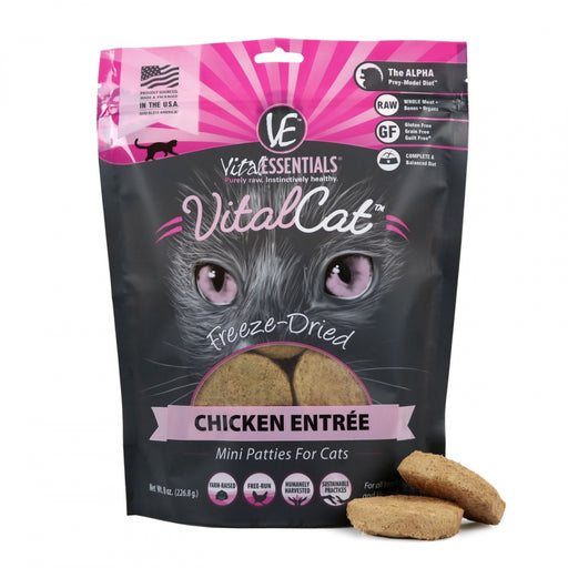 Vital Essentials Freeze Dried Grain Free Chicken Mini Patties Limited Ingredient Entree for Cats