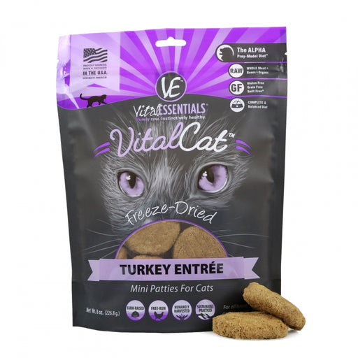 Vital Essentials Freeze Dried Grain Free Turkey Mini Patties Limited Ingredient Entree for Cats