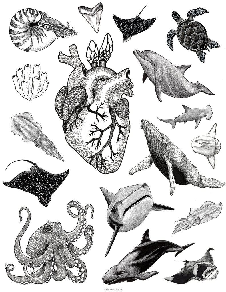 World Oceans Day art collage