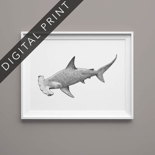 hammerhead shark art digital print