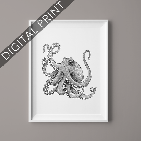 octopus art digital print