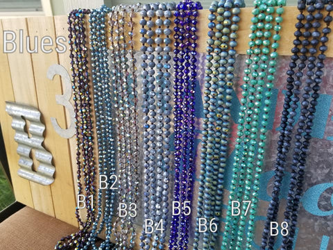 Blues, 60 Inch Crystal Layering Necklaces