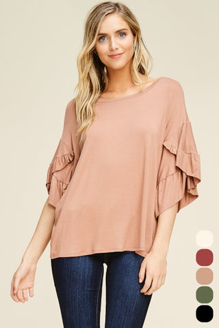 Coffee Ruffle Romance Top