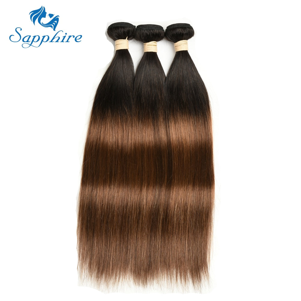 Ombre Brown Brazilian Straight Hair Weave - HairBundlez