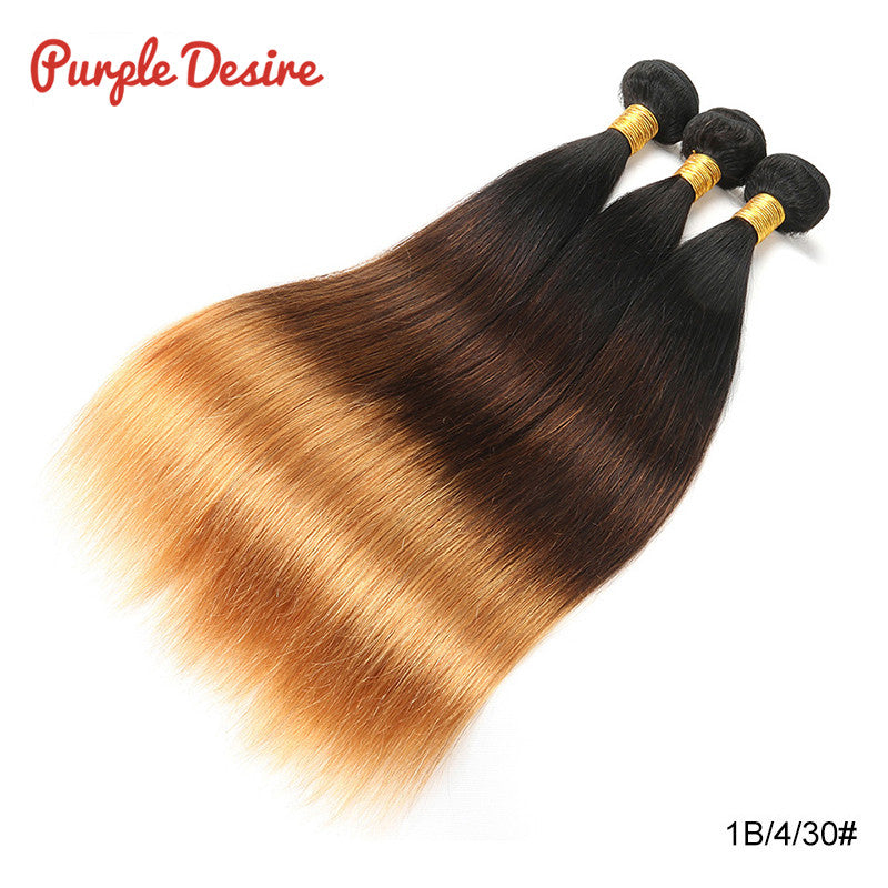 Honey Blonde Ombre 3 Tone Brazilian Straight Hair Weave - HairBundlez