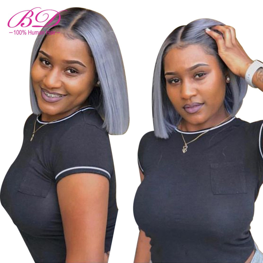 1B/grey Short Bob Lace Wig - HairBundlez