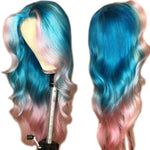 Blue/Pink Two Tone Colored Lace Frontal Wigs - HairBundlez