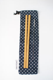 Bamboo Reusable Straws 2 Pack + Cleaning Brush + Carry Case
