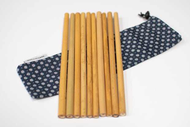Bamboo Reusable Straws 10 Pack + 2x Cleaning Brushes + Carry Cases