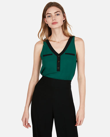 Contrast Trim Button Hudson Tank in Green