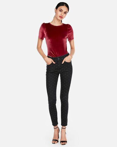 Velvet Puff Sleeve Top in Desire Red