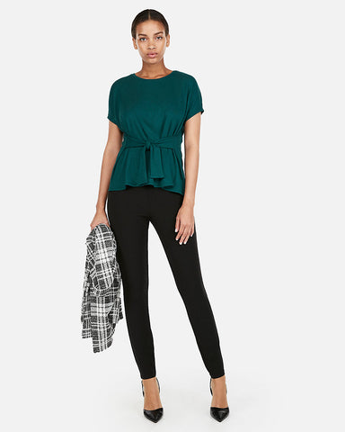 Ribbed Tie Waist Tee in Deep Teal