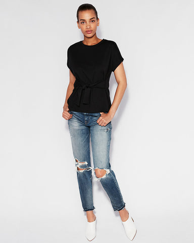 Short Sleeve Tie Waist Top In Pitch Black