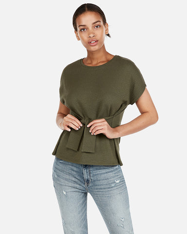 Textured Tie Waist Tee in Olive Green