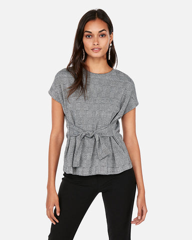 Plaid Tie Waist Top in Black And White