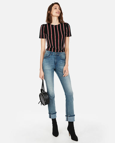 Striped Puff Sleeve Top in Red Stripe
