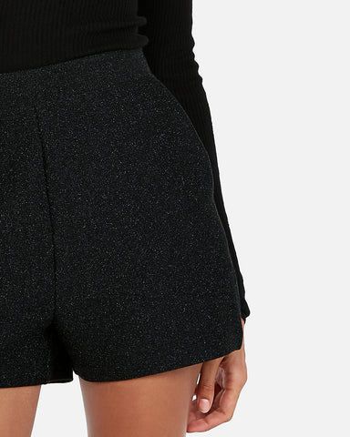 Super High Waisted Metallic Shortie in Black